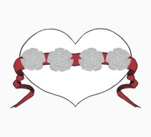 Red Studded Rose Heart Design by Kat Worth One Piece - Short Sleeve