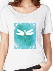White Teal Blue Turquoise Dragonfly Watercolor Silhouette Women's Relaxed Fit T-Shirt