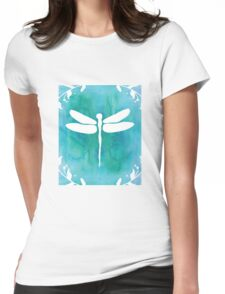 White Teal Blue Turquoise Dragonfly Watercolor Silhouette Womens Fitted T-Shirt
