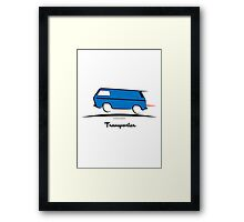 VW Bus Blue Vanagon Caravelle Transporter T3 Framed Print