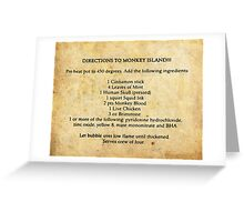 Directions to monkey island Greeting Card