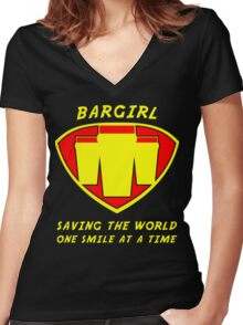 Bargirl Women's Fitted V-Neck T-Shirt