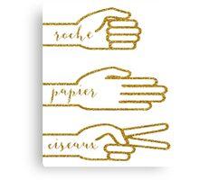 Gold Glitter Rock Paper Scissors Canvas Print