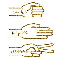 Gold Glitter Rock Paper Scissors Photographic Print