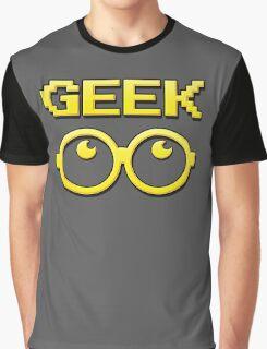Cartoon GEEK Pixels Glasses T Shirt Graphic T-Shirt
