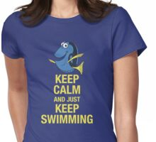 Keep Calm and just Keep Swimming Womens Fitted T-Shirt