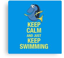 Keep Calm and just Keep Swimming Canvas Print
