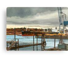 Freighter at Portland Oregon Docks Metal Print