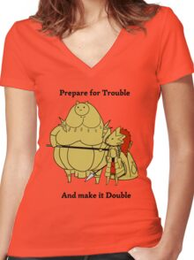 Prepare for trouble and make it double Women's Fitted V-Neck T-Shirt
