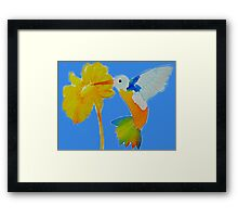 Hummingbird and flower watercolor painting Framed Print