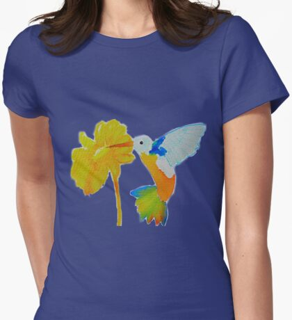 Hummingbird and flower watercolor painting Womens Fitted T-Shirt