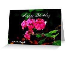 Pink on Black Birthday Flowers Greeting Card