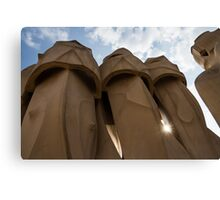 Whimsical Chimneys - Antoni Gaudi, La Pedrera, Barcelona, Spain Canvas Print