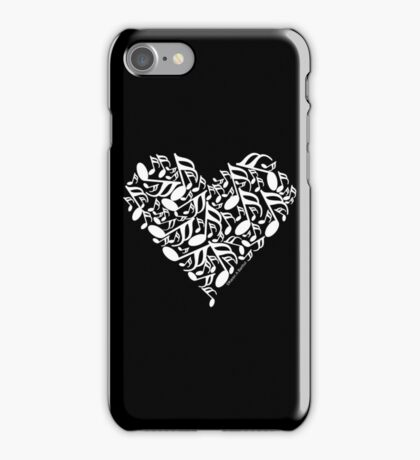 White Music Notes Heart iPhone Case/Skin