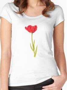 Single red tulip flower watercolor art Women's Fitted Scoop T-Shirt