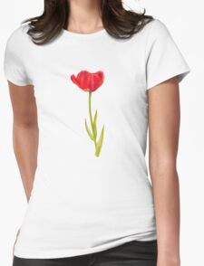 Single red tulip flower watercolor art Womens Fitted T-Shirt