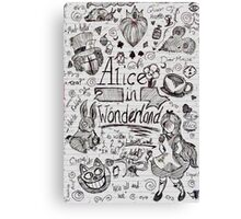 Alice in Wonderland Sketchbook Page 1 Canvas Print