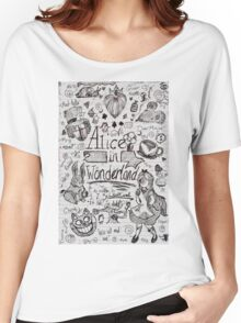 Alice in Wonderland Sketchbook Page 1 Women's Relaxed Fit T-Shirt