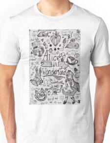 Alice in Wonderland Sketchbook Page 1 Unisex T-Shirt