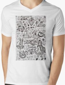 Alice in Wonderland Sketchbook Page 1 Mens V-Neck T-Shirt