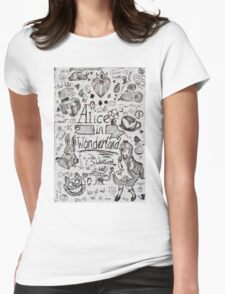 Alice in Wonderland Sketchbook Page 1 Womens Fitted T-Shirt