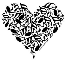 Black Music Notes Heart Photographic Print