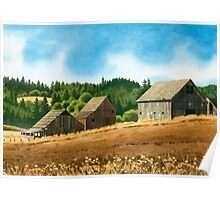 Silverton Oregon Three Barns Poster