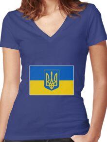 UKRAINE Women's Fitted V-Neck T-Shirt