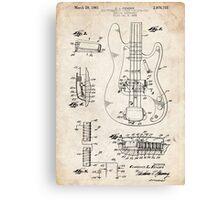 1961 Fender Precision Bass Guitar Patent Art Canvas Print