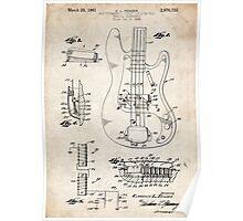 1961 Fender Precision Bass Guitar Patent Art Poster