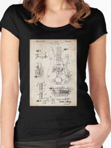 1961 Fender Precision Bass Guitar Patent Art Women's Fitted Scoop T-Shirt