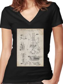 1961 Fender Precision Bass Guitar Patent Art Women's Fitted V-Neck T-Shirt