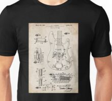 1961 Fender Precision Bass Guitar Patent Art Unisex T-Shirt