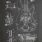 1961 Fender Precision Bass Guitar Patent Art, Blackboard by Steve Chambers