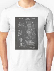1961 Fender Precision Bass Guitar Patent Art, Blackboard Unisex T-Shirt