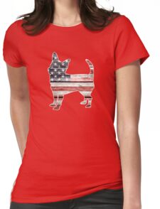 Patriotic Chihuahua, American Flag Womens Fitted T-Shirt