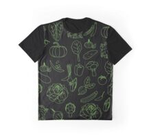 Vegan Vegetables Healthy Green Food Graphic Tee Doodle Graphic T-Shirt