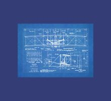 1903 Wright Flyer Airplane Invention Patent Art, Blueprint Unisex T-Shirt