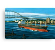 Freighter under Portland's Fremont Bridge Canvas Print
