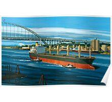 Freighter under Portland's Fremont Bridge Poster