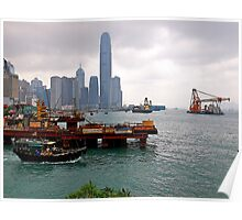 Construction Activity, Hong Kong  Harbour, 2012. Poster