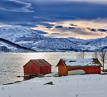 winter landscape with typical red house at snow covered coast by travel4pictures