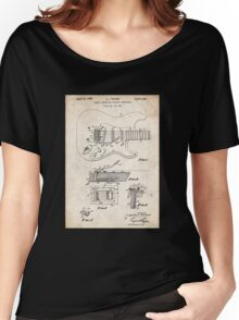 1956 Fender Stratocaster Guitar Invention Patent Art Women's Relaxed Fit T-Shirt