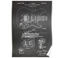 1956 Fender Stratocaster Guitar Invention Patent Art, Blackboard Poster