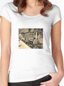 LAUNCESTON STEAM RAILWAY LOCOMOTIVE COVERTCOAT IN SEPIA Women's Fitted Scoop T-Shirt