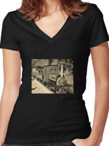 LAUNCESTON STEAM RAILWAY LOCOMOTIVE COVERTCOAT IN SEPIA Women's Fitted V-Neck T-Shirt
