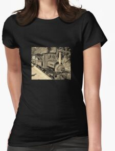 LAUNCESTON STEAM RAILWAY LOCOMOTIVE COVERTCOAT IN SEPIA Womens Fitted T-Shirt
