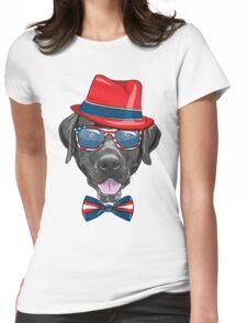 Smiling black hipster dog Labrador Retriever  Womens Fitted T-Shirt
