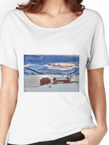 winter landscape with typical red house at snow covered coast Women's Relaxed Fit T-Shirt