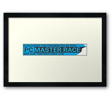 Blue GLORIOUS PC Master Race Logo Banner Icon Sign Framed Print